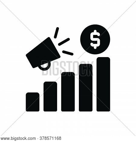 Black Solid Icon For Promotion Increase Analysis Advertising Broadcast Notice Bullhorn Megaphone Mar