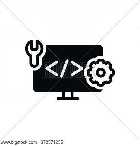 Black Solid Icon For Web-develop Coding Html Programming Browser Page Software Website Webpage Devel