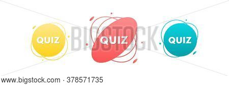 Quiz Colorful Modern Design Elements. Quiz Game Vector Signs, Stickers, Labels.