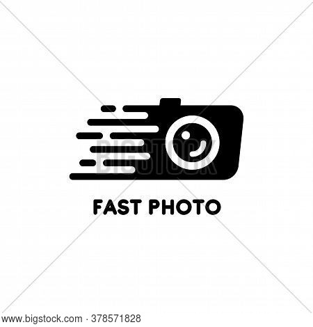 Vector Black And White Logo With A Moving Camera. Logo For A Quick Photo Studio. Design Element For