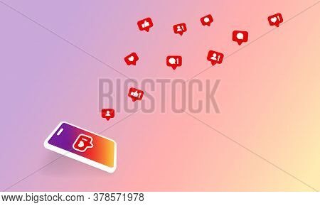 Social Media Notification Icon. Follow, Like, New Comments Symbol. Social Networking. Vector On Isol