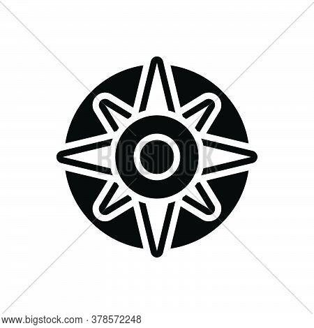 Black Solid Icon For Compass Explore Orienteering Nautical Equipment Instrument Navigation Adventure