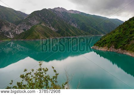 Beautiful Mountain Turquoise Color Lake Karasuu. Kyrgyzstan.
