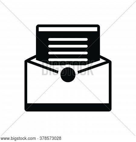Black Solid Icon For Letter Communication Messages Tidings Paper Text Scenarios Script Document Manu