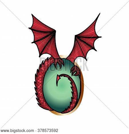 Abstract Dragon Sign On White Background. Gem And Dragon Wings. Decorations.