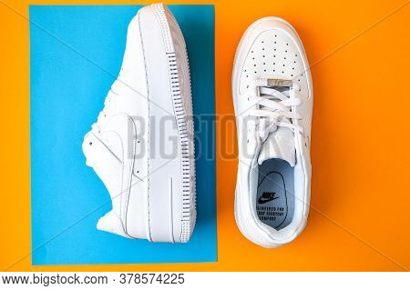 Zhytomyr, Ukraine - June 1, 2020: Nike Air Force 1 Sage White Sneakers Product Shot On Color Backgro