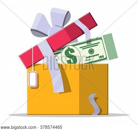 Dollar Money Coins Coming Out Of The Gift Box. Bonus Program, Reward Points. Growth, Income, Savings