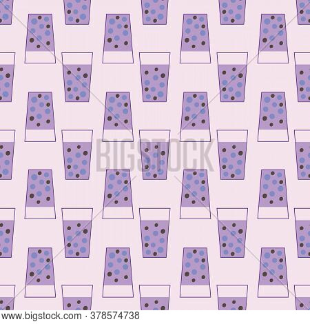 Taro Flavoured Purple Bubble Tea Seamless Vector Pattern. Cute Drink Themed Surface Print Design For