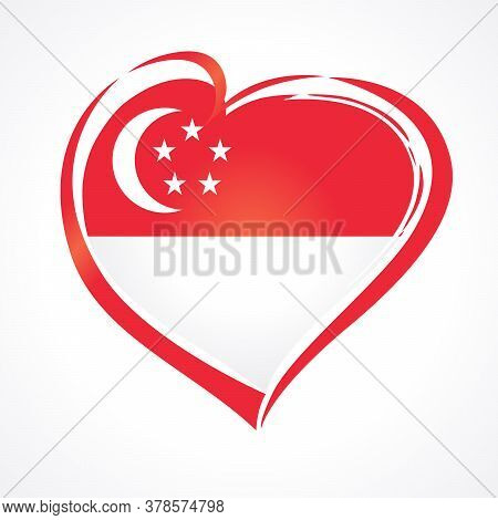 Love Singapore Emblem With Flag Vector Illustration, August 9th Singapore National Day. 54 Years Sin