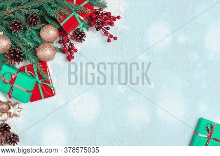 Christmas Tree With Cones Border. New Year Holiday Evergreen Tree, Xmas Green Art Corner Design. Bra