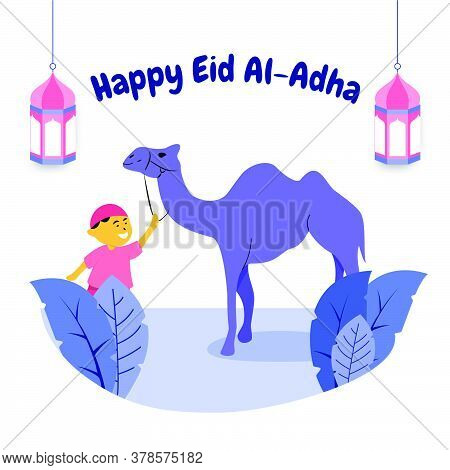 Happy Boy Play With Camel Flat Style Illustration. Islamic Design Illustration Concept For Happy Eid