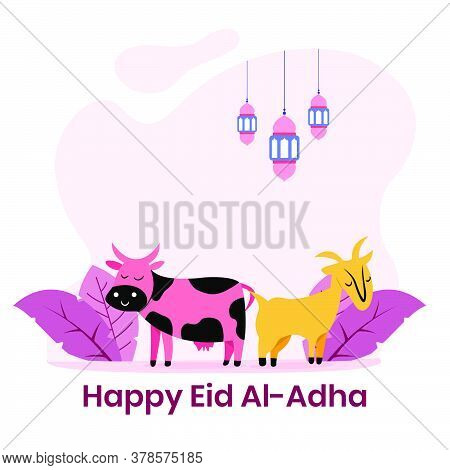 Happy Cow And Sheep Colorful Flat Illustration. Islamic Design Illustration Concept For Happy Eid Al