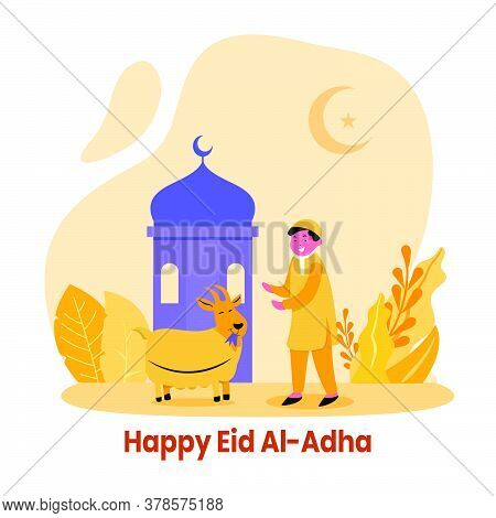 Happy Boy Play With Goat In Front Of Mosque Flat Style Illustration. Islamic Design Illustration Con
