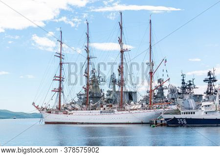 Vladivostok, Russia - July 16, 2020: Sedov - Four-masted Steel Barque In Port Vladivostok. Sts Sedov
