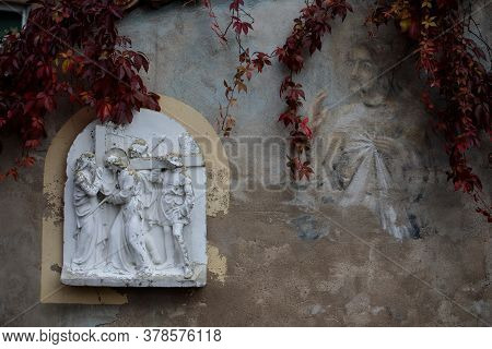 Vilnius, Lithuania - October 7, 2017: One Of The Bas-reliefs From Biblical Scenes In The Courtyard O