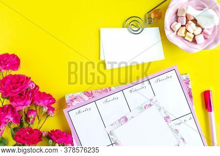 Planning Of Important Things, Pink Writing Instruments On A Colored Background. Things To Do. Top Vi