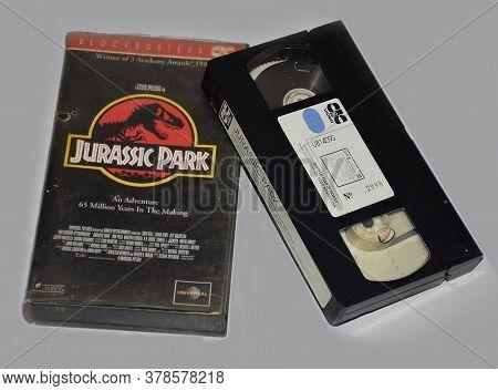 Delhi - India 28th July 2020 Old Video Cassette Of Blockbuster Movie Jurassic Park In 1994
