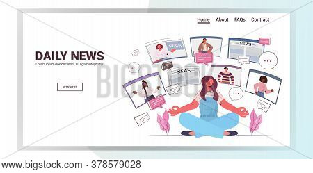 Woman Sitting Lotus Pose Discussing Daily News With Friends In Web Browser Windows Chat Bubble Commu