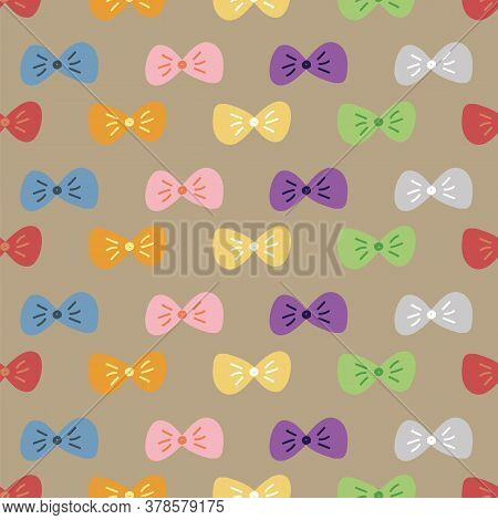 Bow Tie Colorful Seamless Pattern. Vector Illustration. Great For Birthday, Party, Gift Wrapping, Wa