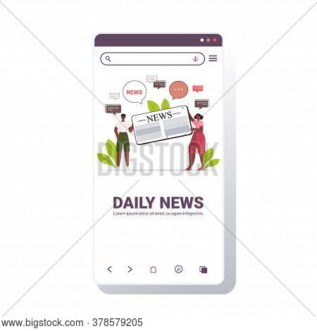 Couple Reading And Discussing Daily News On Smartphone Screen Chat Bubble Communication Concept Full