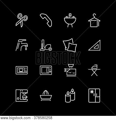 Set Of Housekeeping, Home Appliance Line Icons. Candles, Pillows, Kitchen. Household Concept. Illust