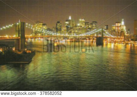Manhattan Waterfront With Brooklyn Bridge At Night - New York City (usa) - Concept Image With Pixela