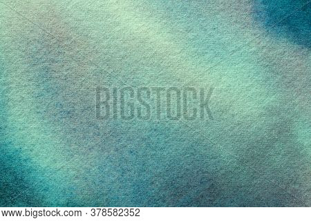 Abstract Art Background Light Blue And Turquoise Colors. Watercolor Painting On Canvas With Soft Cya