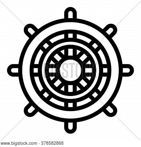 Maritime Ship Wheel Icon. Outline Maritime Ship Wheel Vector Icon For Web Design Isolated On White B