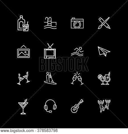 Set Of Hobby, Activity Line Icons. Party, Alcohol, Guitar, Travel. Leisure Concept. Illustration Can