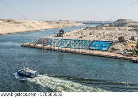 Ismailia, Egypt - November 14, 2019: Suez Canal Authority Monument And Gigantic Letters Saying