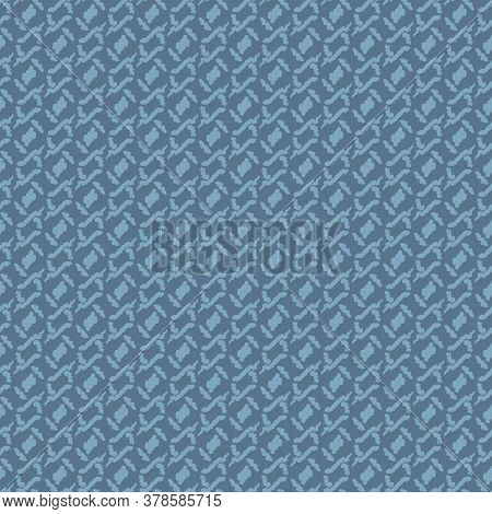 Woolen Knit Sweater Seamless Vector Texture Pattern. Unisex Surface Pritn Design In Muted Blue. For