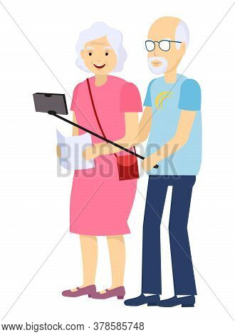 Grandparents Tourists. Elderly Couple Vector. Taking Selfie. Grandfather And Grandmother. Face Emoti