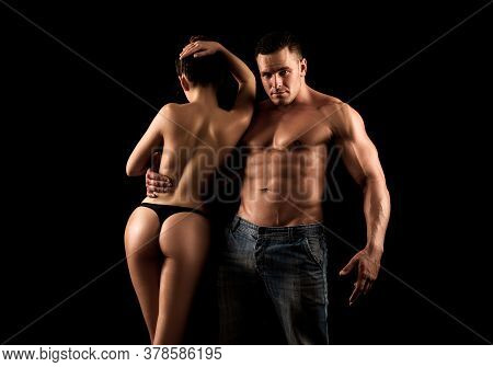 Sensual Sexy And Beauty Couple. Young Sexual Lovers Of Handsome Muscular Man With Bare Muscular Ches