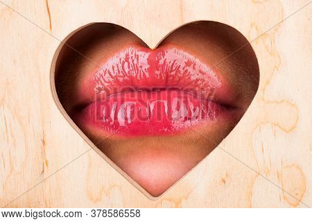 Lips In Heart Shape. Valentines Day. Natural Beauty Lip Care. Sexy Female Lips With Pink Lipstick. R