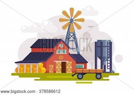 Farm Scene With Red Barn, Windmill Water Pump And Tractor, Summer Rural Landscape, Agriculture And F