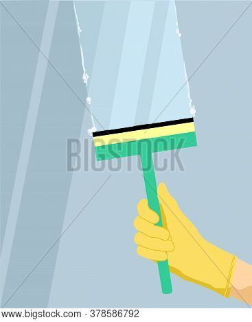 Wash Glass Window Concept Banner. Hand In A Yellow Glove With Squeegee, Scraper, Wiper Washes A Wind