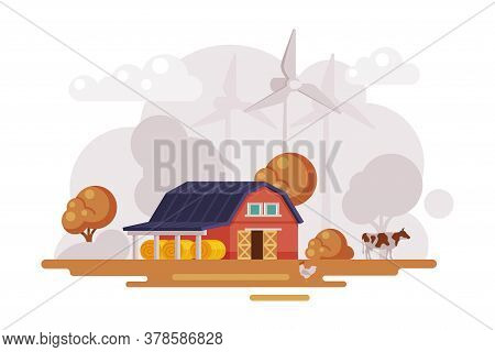 Farm Scene With Red Barn House, Wind Turbines And Grazing Cow At Autumn Rural Landscape, Agriculture