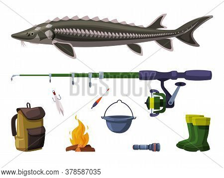 Fishing Equipment Set, Sterlet Freshwater Fish, Fishing Rod, Backpack, Bucket, Bonfire, Rubber Boots