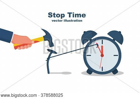 Man Holding A Hammer In Hand Drives A Nail To Stop Time. Creative Deadline Solution. Stop Time Conce