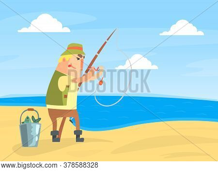 Amateur Fisherman Character Standing On Sea Shore And Catching Fish With Rod Cartoon Vector Illustra