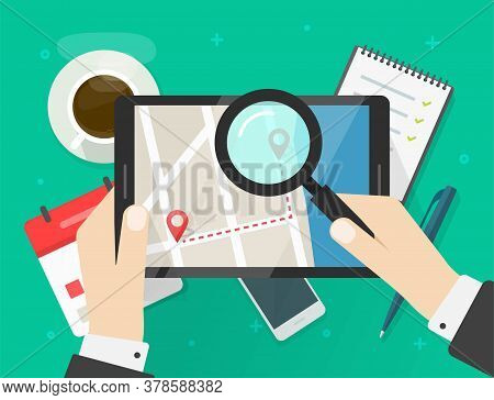 Searching Road Map Location Vector Illustration Or Reviewing Trip Travel Direction Route On City Nav