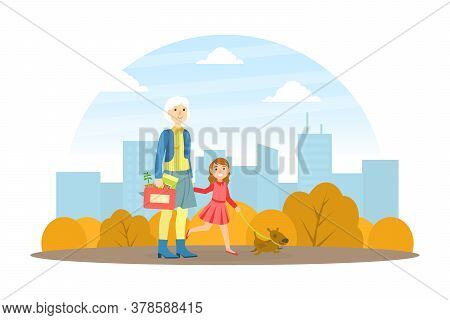 Grandmother Walking With Her Granddaughter In Park, Elderly Woman Spending Time With Her Grandchild,