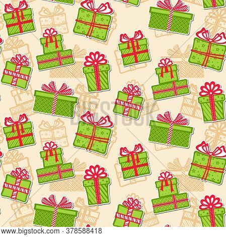Stickers Of Green Gift Boxes With Different Red Ribbons And Bows On A Beige Background With Silhouet