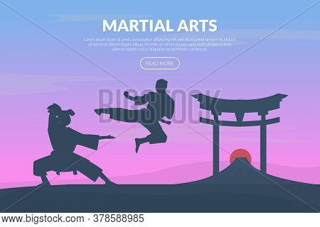 Martial Arts Banner Template With Asian Fighters, Karate, Judo, Taekwondo, Aikido School Website, Ho