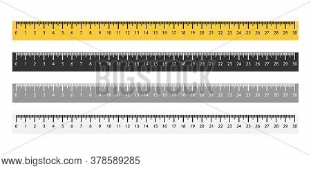 Set Of Ruler Metric Measurement In Yellow And Black Colors. Isolated Measure Tool From 1 To 30 Cm. H