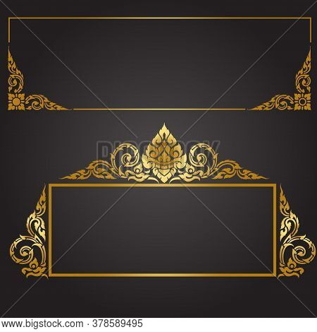 Old Antique Gold Frame Isolated Decorative Carved Wood Stand Antique Black Frame Isolated On White B
