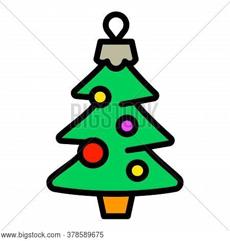 Christmas Fir Tree Toy Icon. Outline Christmas Fir Tree Toy Vector Icon For Web Design Isolated On W