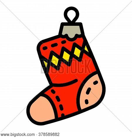 Christmas Red Sock Tree Toy Icon. Outline Christmas Red Sock Tree Toy Vector Icon For Web Design Iso