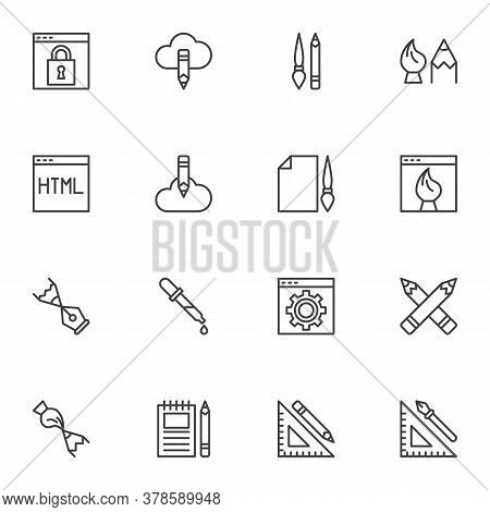 Design And Drawing Line Icons Set, Outline Vector Symbol Collection, Linear Style Pictogram Pack. Si