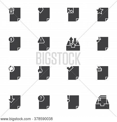 Document File Vector Icons Set, Modern Solid Symbol Collection, Filled Style Pictogram Pack. Signs L